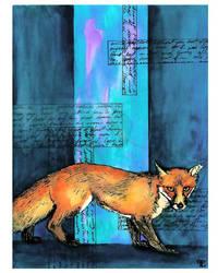 Fox On Blue by felixxkatt