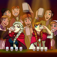 Elsa and Anna - BOTTOMS UP