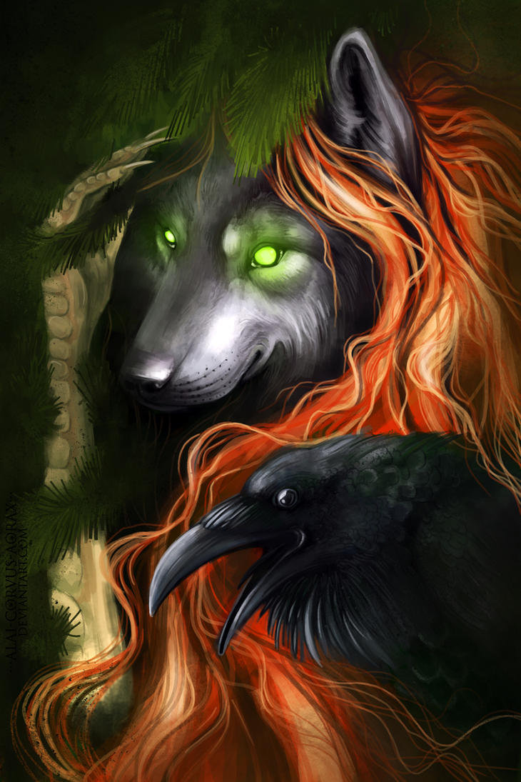 Witch with raven by Alaiaorax