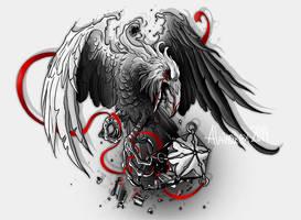 Tattoo design. Grey raven by Alaiaorax