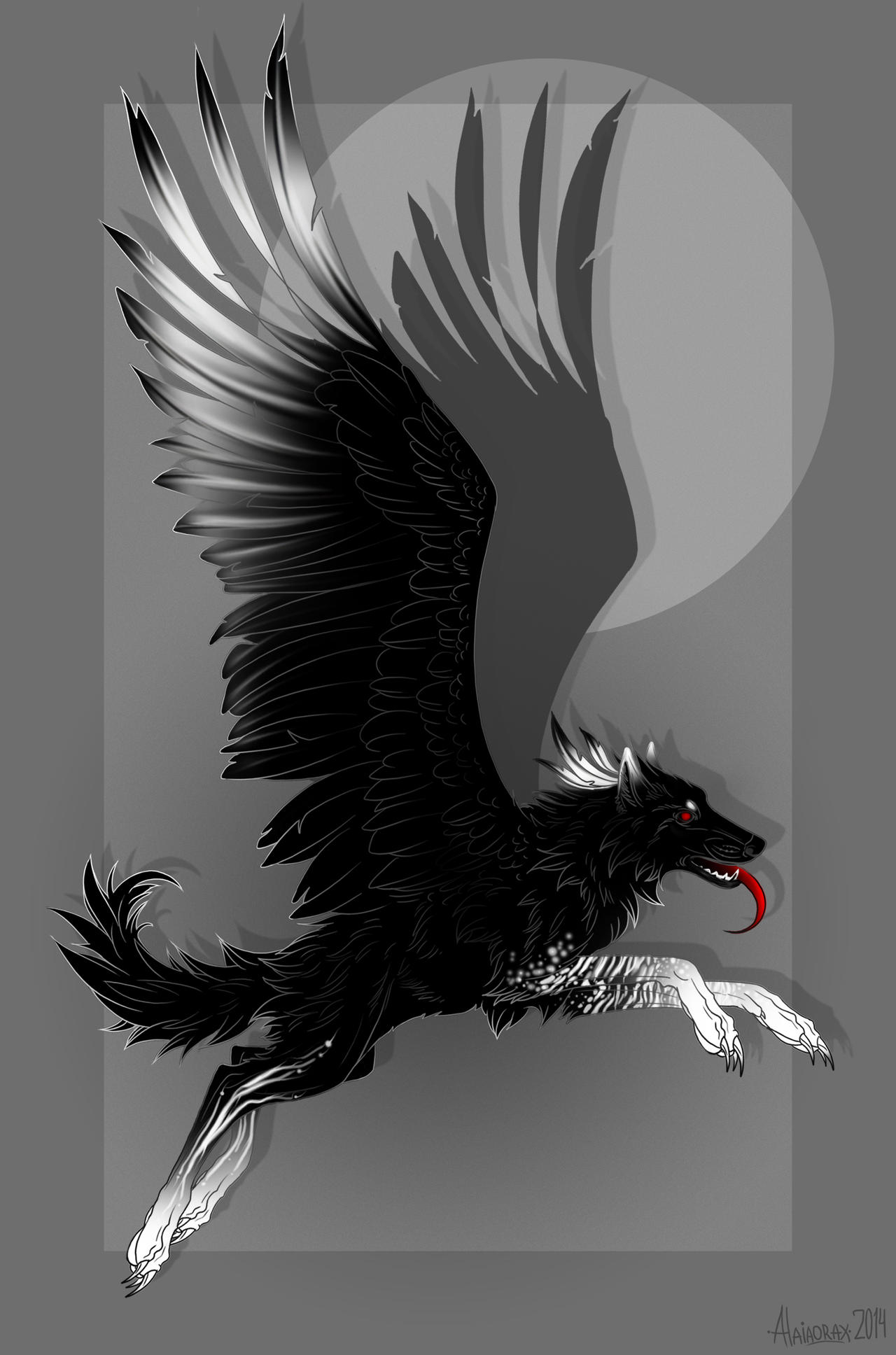 Winged wolf by Alaiaorax on DeviantArt