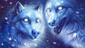 Snow wolves by Alaiaorax