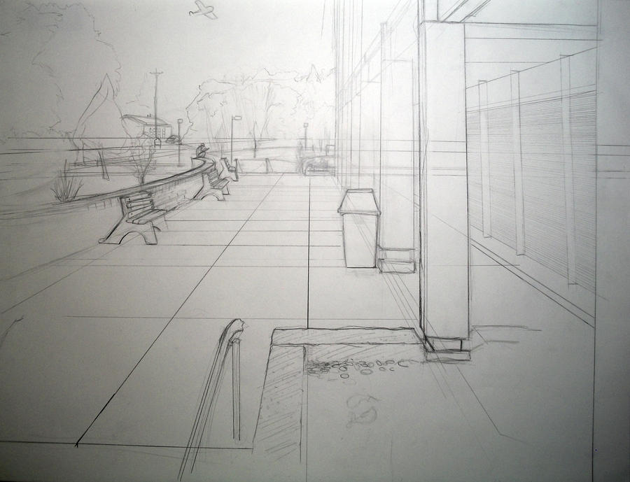 Outdoor one point perspective by bryanbonar on deviantart for Exterior 2 point perspective