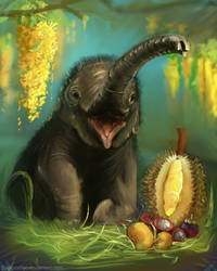 DAILY PAINT : Elephant Calf#79 by Dan-zodiac