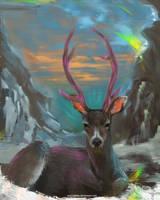 DAILY PAINT : Happy Deer #88 by Dan-zodiac
