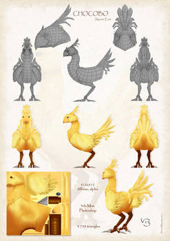 Chocobo 3D - wireframe (Square Enix)