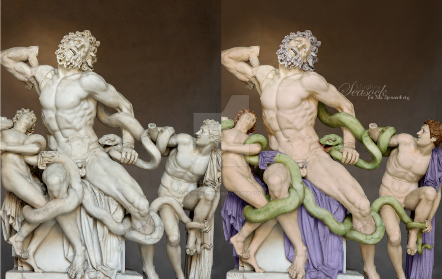 comparison of akhenaton and laocoon and Birth of the winged angel there is the 'hermes' by praxiteles and the 'laocoon and his sons,' akhenaten, nefertiti.