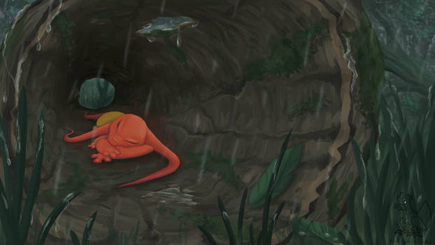 A Nap in a Hollow log