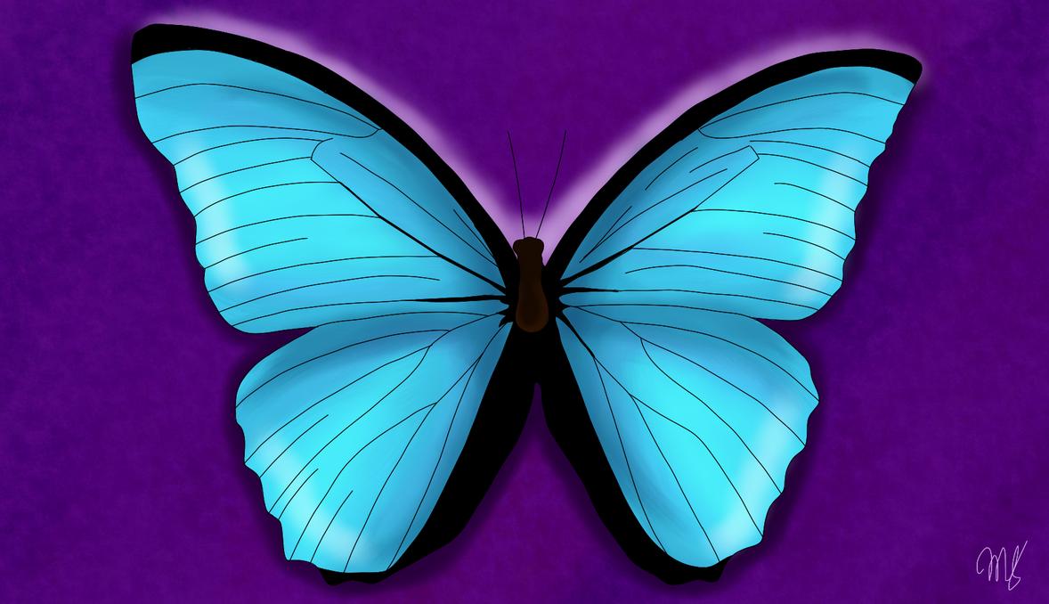 Blue Butterfly by drawingwolf17