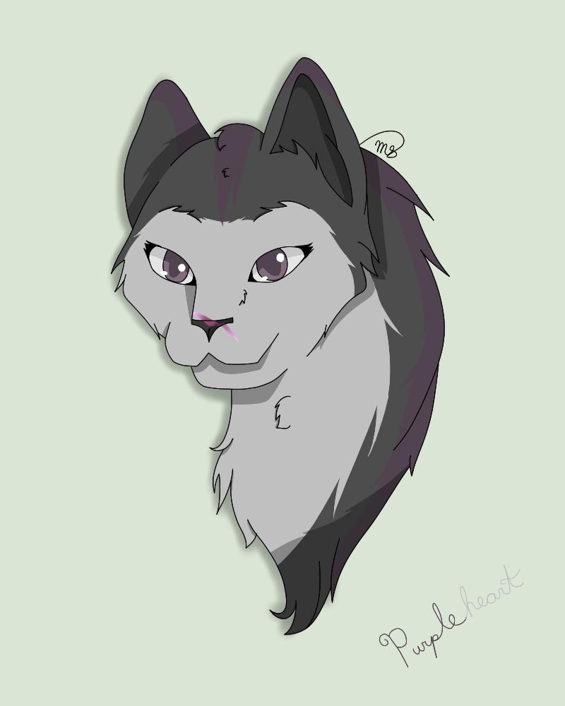 Purpleheart of DarkClan by drawingwolf17