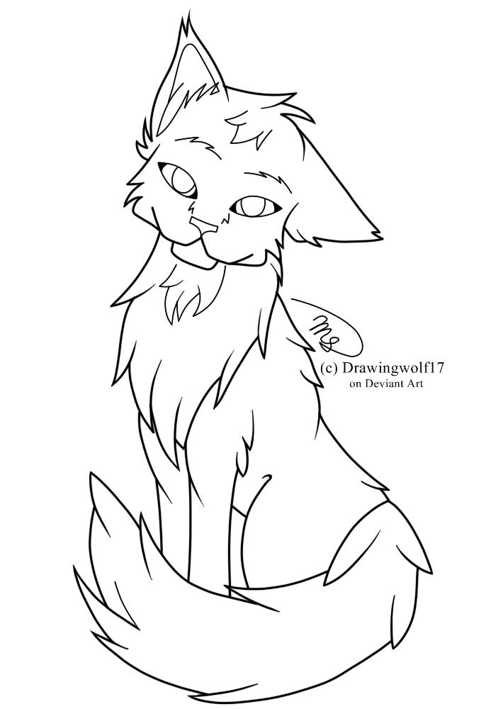 Free Cat Line Art by drawingwolf17
