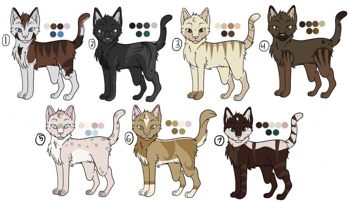 OPEN Cat Adoptables - 5/7 by drawingwolf17