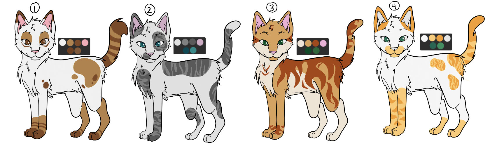 OPEN Cat Adoptables - 1/4 by drawingwolf17