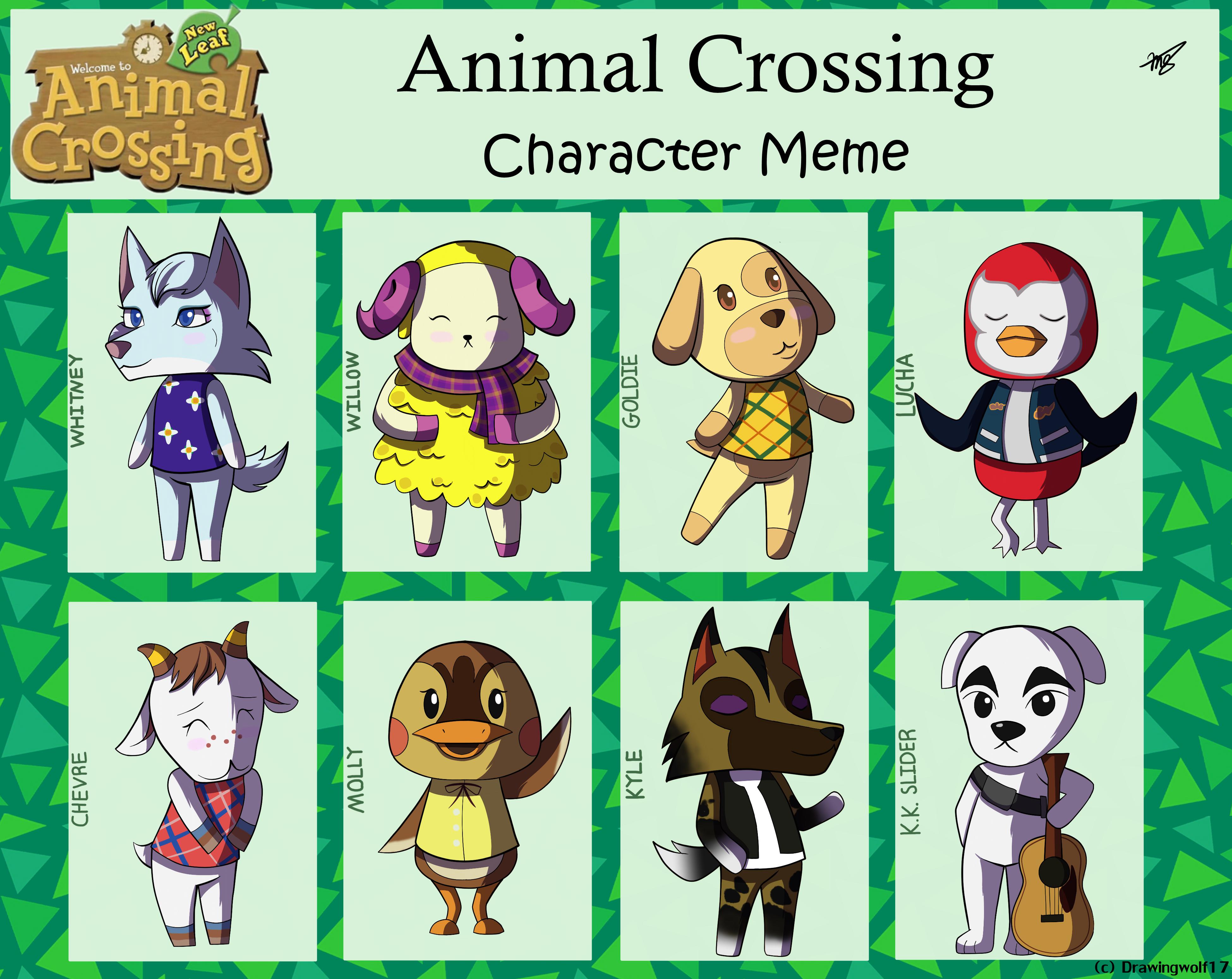 Animal Crossing Character Meme by drawingwolf17