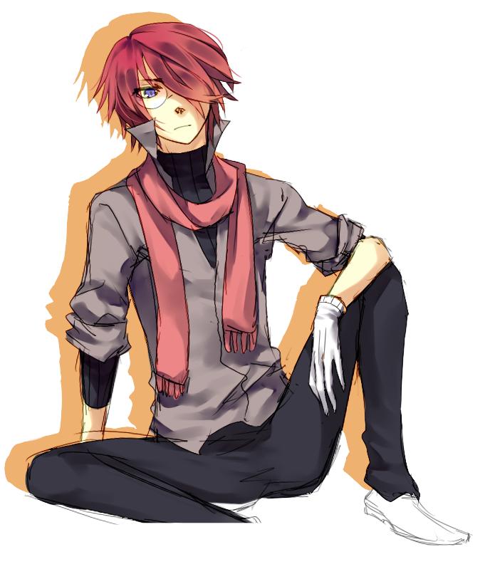 Anime boy red hair blue eyes