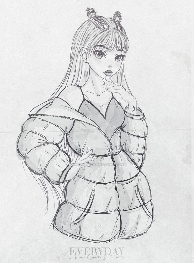 Ariana grande everyday sketch by kerocreations on deviantart
