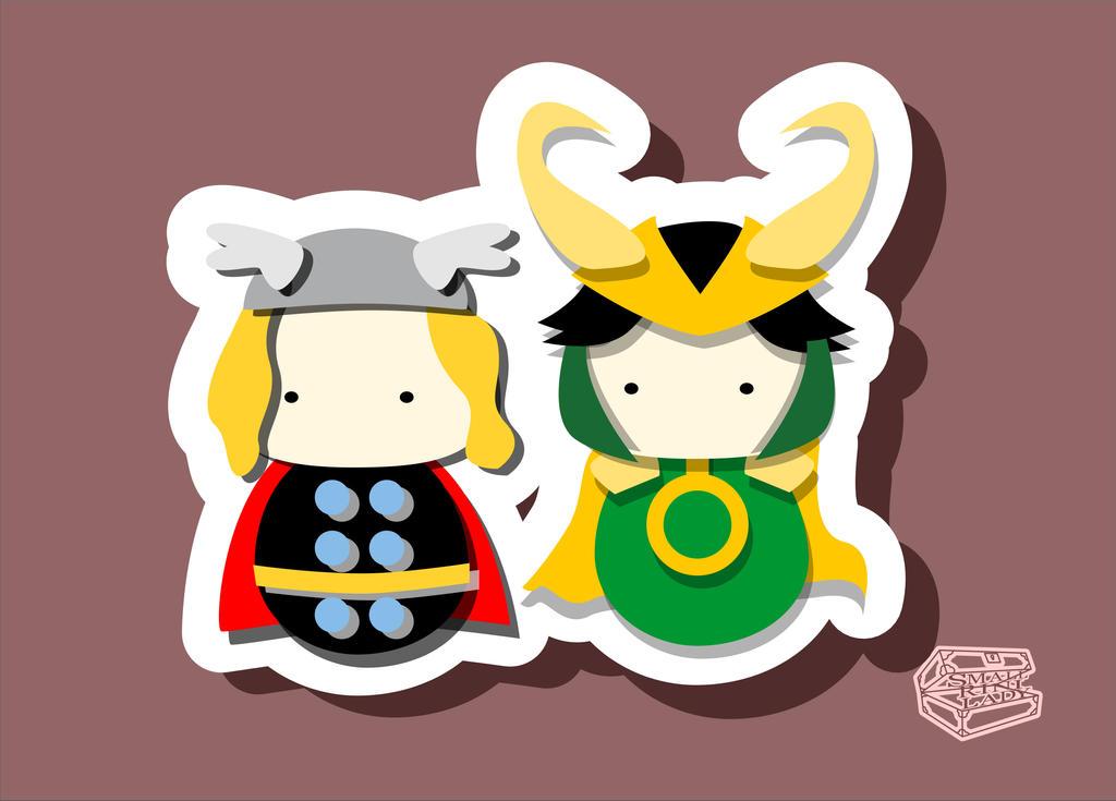Kokeshi Postcards Thor and Loki by smallrinilady