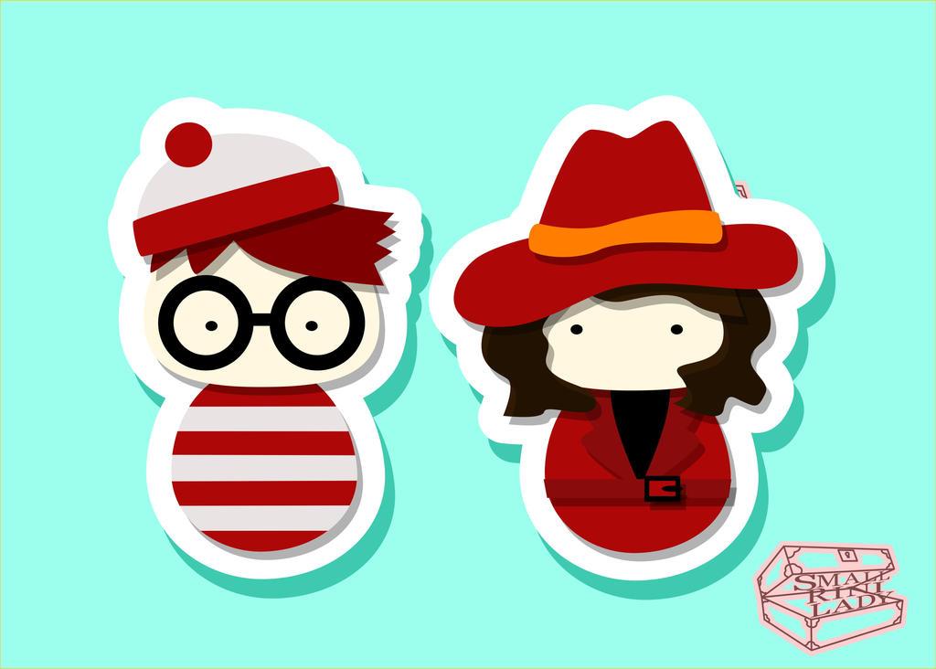 Kokeshi PopCulture Carmen Sandigo and Waldo by smallrinilady