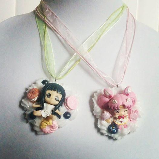 SAO Yui and SailorChibiMoon Decoden necklaces by smallrinilady