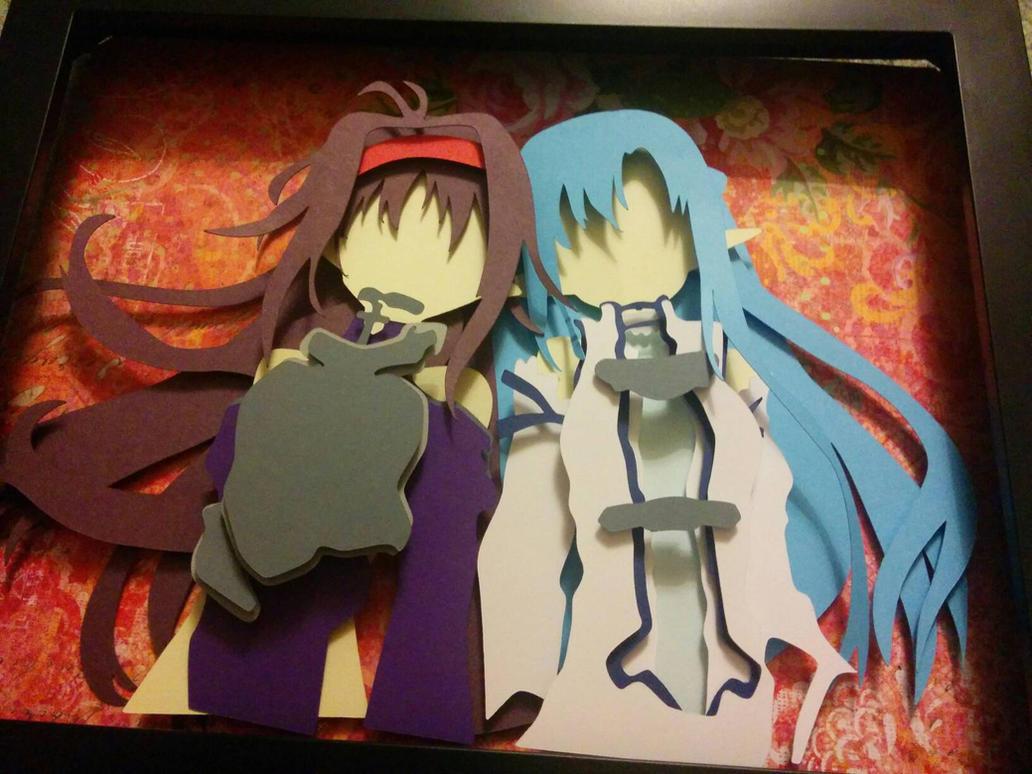 Asuna and Yuki PaperCut by smallrinilady