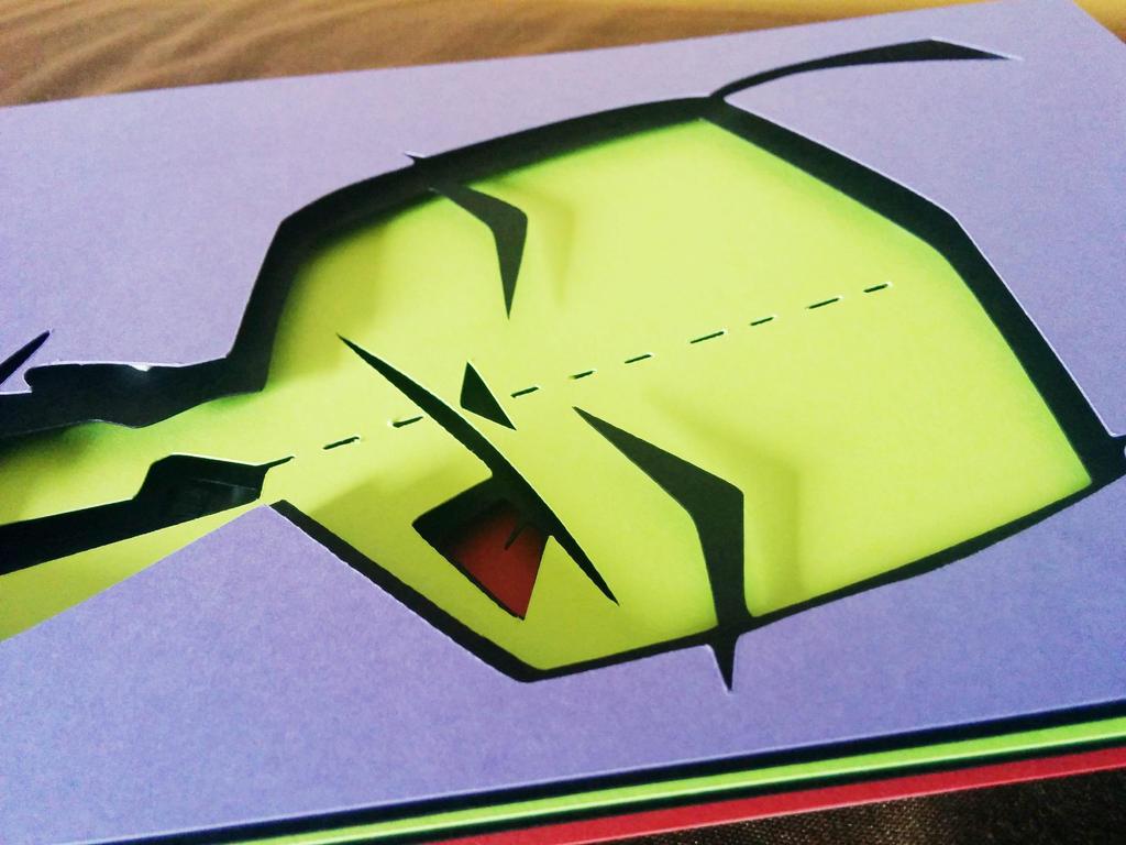 Invader Zim Gir Papercut by smallrinilady