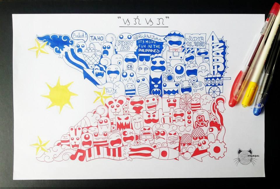 Doodled Philippine Flag By Rickhiljohn