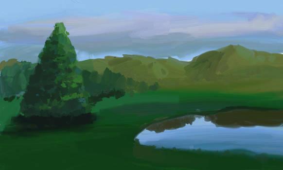 overcast lakeside