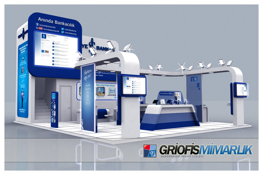 Exhibition Stand Etiquette : Turkiye is bankasi exhibition stand design d by