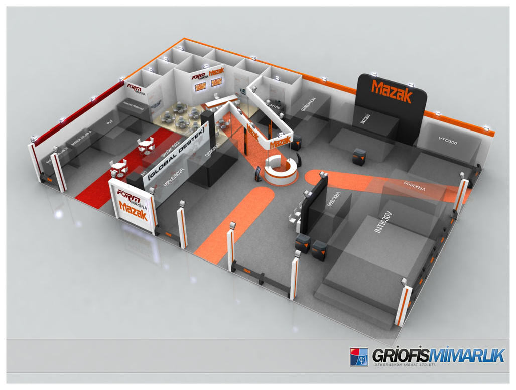 Exhibition Stand Design 3d Max : Mazak exhibition stand design d by griofismimarlik on