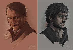 Hannibal Lecter and Will Graham by MimmuArt
