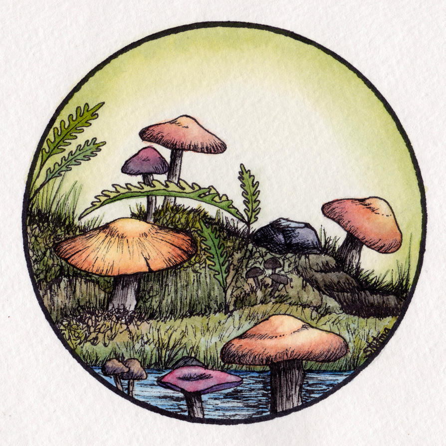Shroomies - Ink and Watercolour by atrophy129