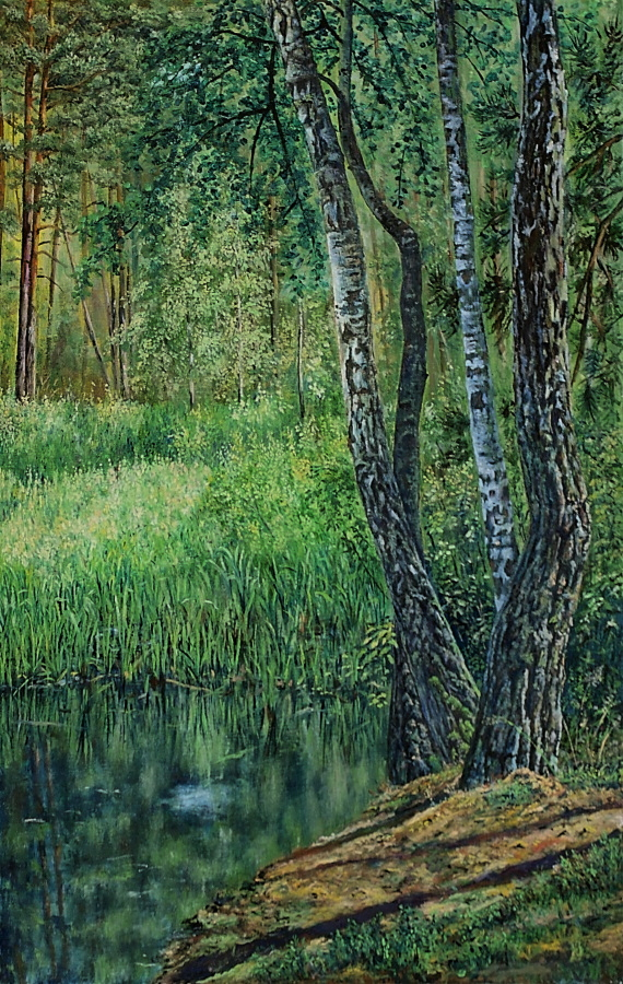 On the forest pond by Wojciech-Wierzynski
