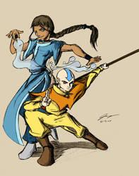 Aang and Katara by josedude