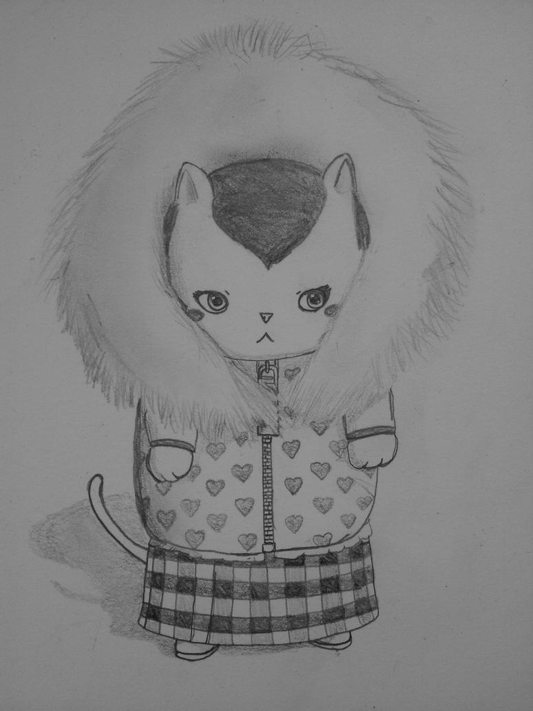 Sketch: Riceball in a winter coat by Kawaiirose87
