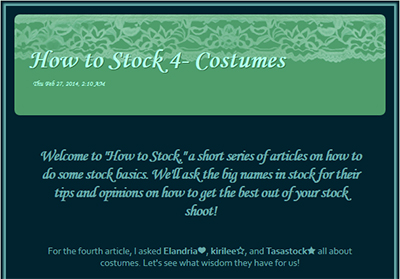How to Stock - Costumes