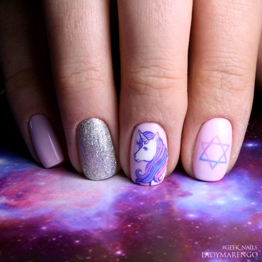 Unicorn nails by ladymarengo