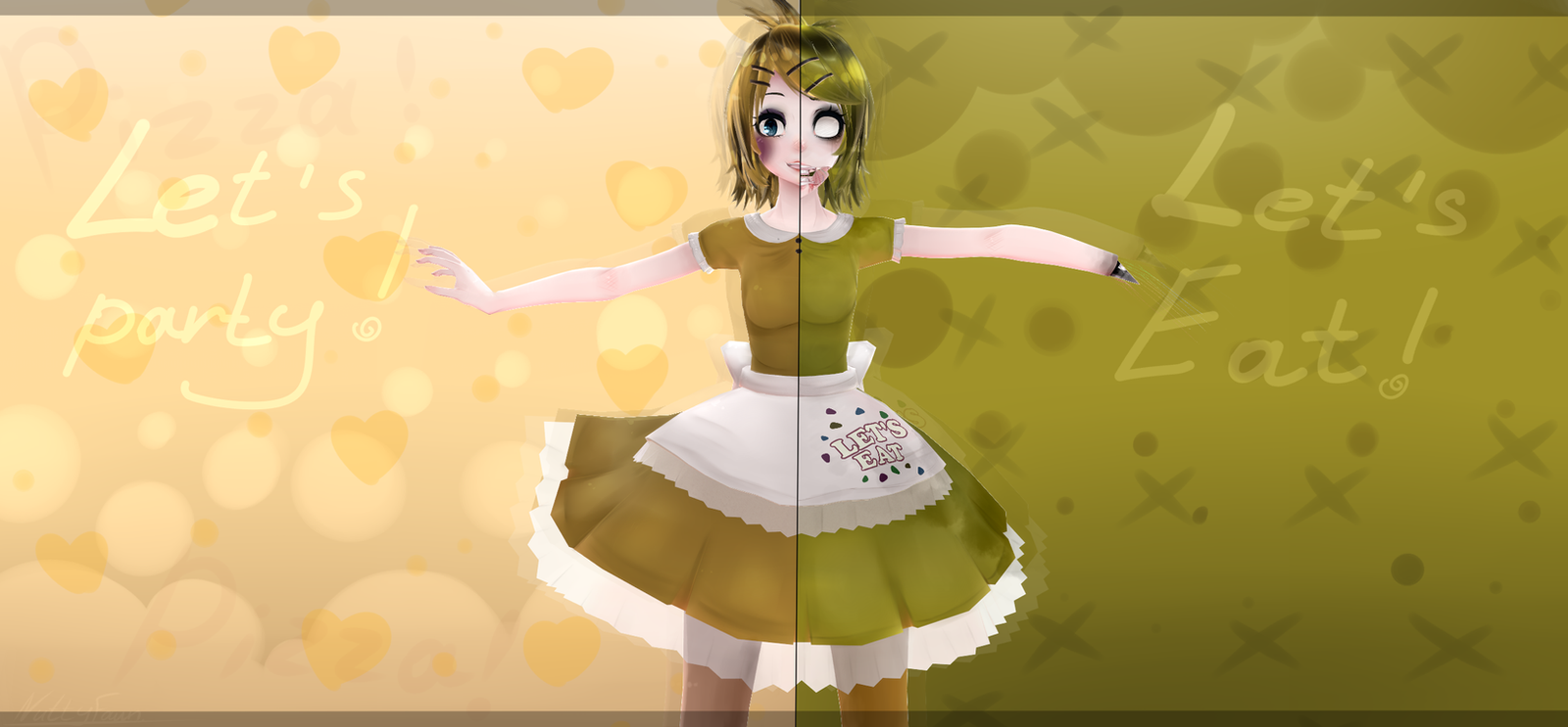 Mmd fnaf toy chica and old chica rin by nuttyfawn on deviantart