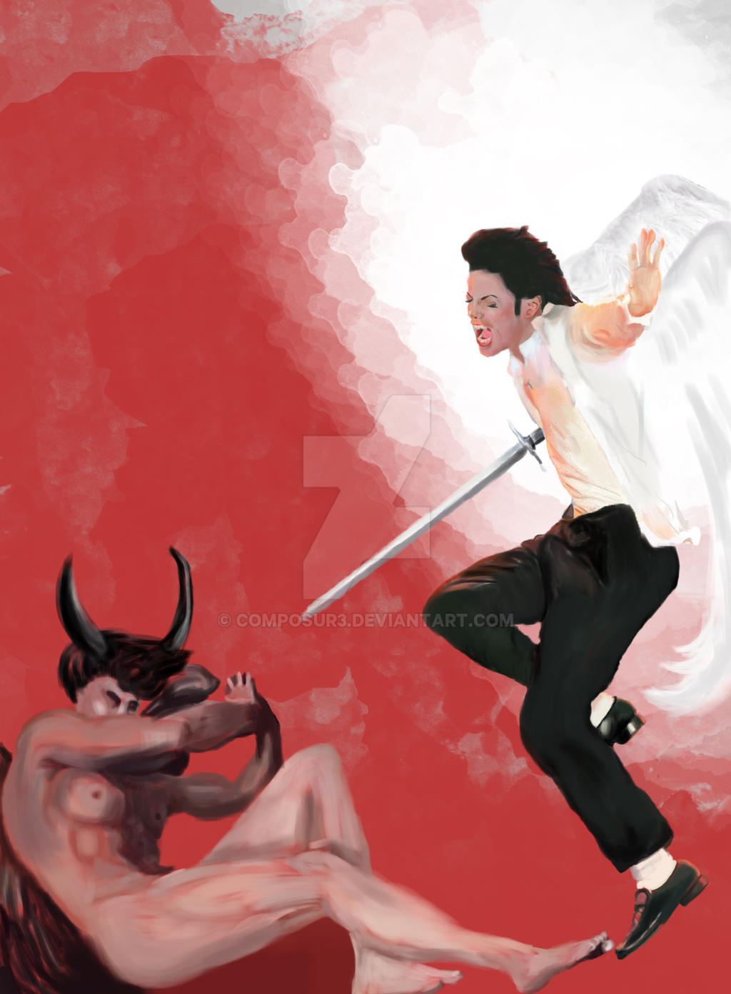 archangel michael vs archangel lucifer painting by
