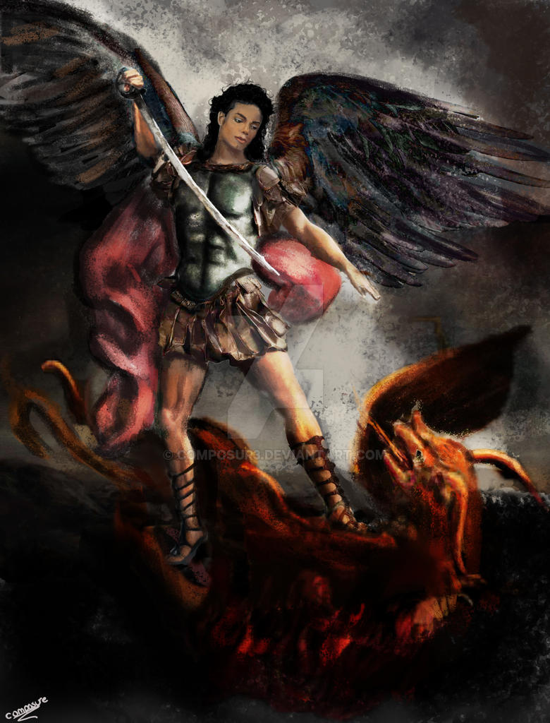 saint michael slays the dragon by composur3 on deviantart