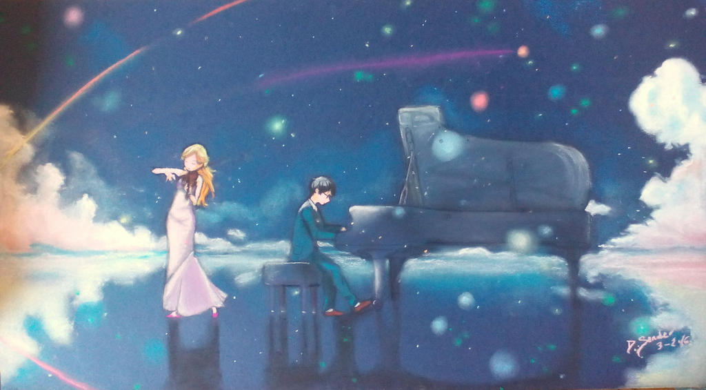 Shigatsu Wa Kimi No Uso Pastel Painting by DSenderM