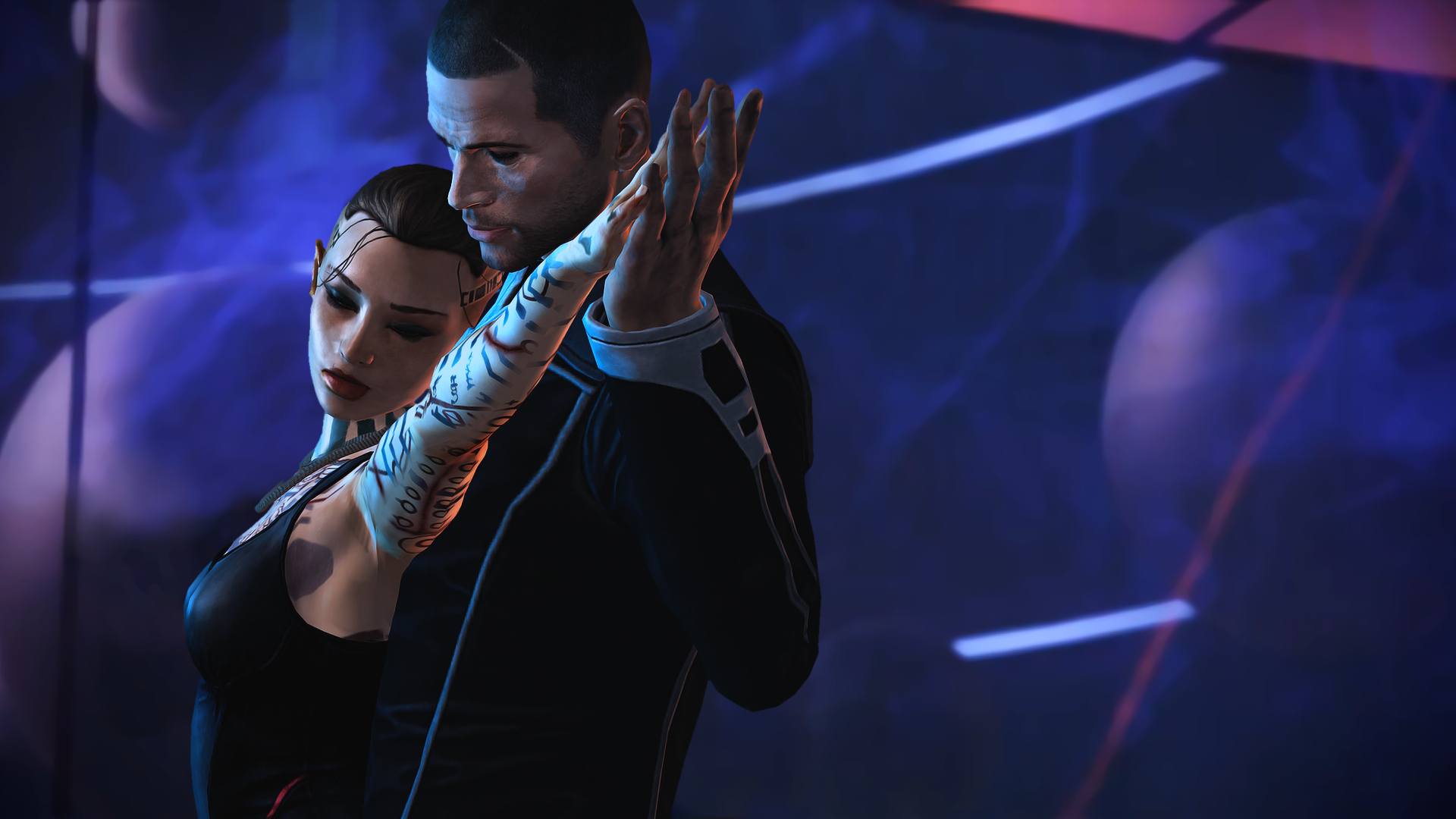 Shepard taking Jack out dancing (wallpaper) by Nightfable