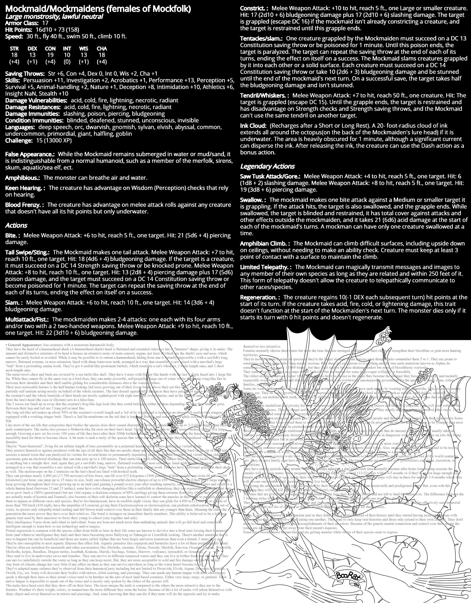 Mockmaid DnD Monster stat sheet by BooRat on DeviantArt
