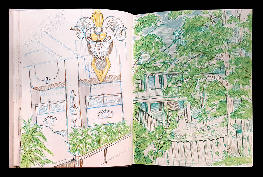 Sketchbook Page Backyard by eychanchan