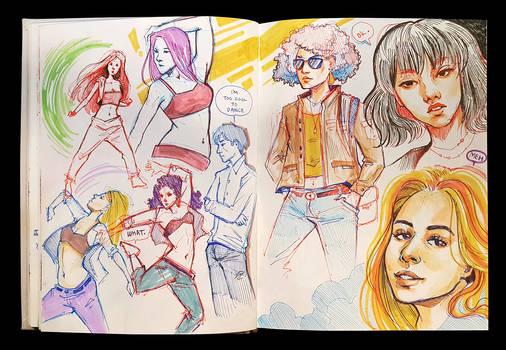 Sketchbook Page Dancers