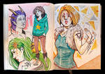 Sketchbook Page Colorful Characters