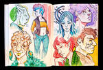 Sketchbook Page SciFi Characters
