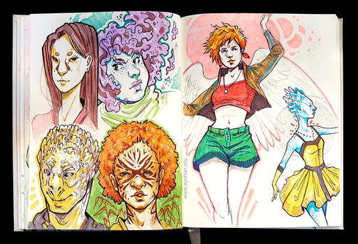 Sketchbook Page Faces and Dancers