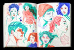 Sketchbook Page Purple Green Reds