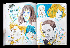 Sketchbook Page Blue Yellow Brown