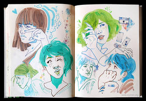 Sketchbook Page Blue and Greens